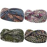 WinCret Stirnband Damen Mädchen | Winter Häkeln Stirnbänder Gestrickt Stirnband | Frühling Kopfband Haarband Elastische Blume Gedruckt Stirnbänder
