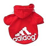 DULEE adidog Hund Warme Hoodies Mantel Jumpsuit Haustier Kleidung Jacke Pullover Baumwolle Pullover Outwear Rot XXL