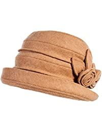 SIGGI Wolle 1920s Retro Glockehut Fischerhut für Damen Klassisch klappbar Bowler Hut Winter