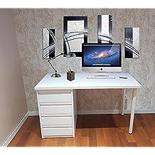grupo julio diaz Mesa de Escritorio Blanca montada Lista para ser Utilizada de 120 cm - Una Mesa de Estudio Juvenil con cajonera Blanca de 4 cajones usada ...