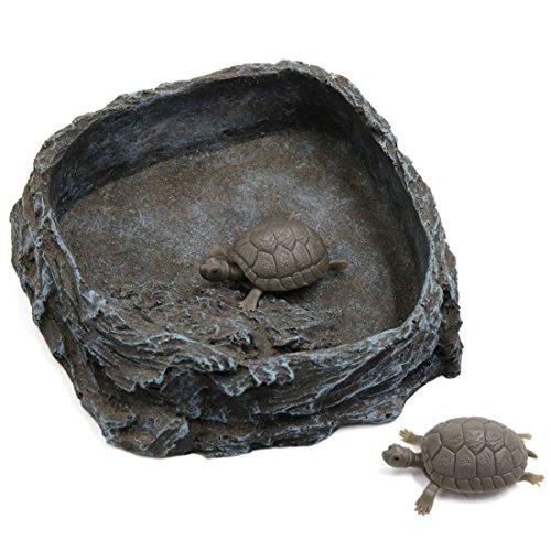 sourcingmap Gris Oscuro Resina Cuenco, Alimentar A Las Mascotas Placa De Alimentos Plato Bebedero Para Reptiles Tortugas