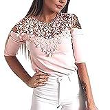 OSYARD Damen Mode aushöhlen Blumenspitze Patchwork Oansatz T-Shirt Bluse Feste Tops(EU 46/XL, Pink)