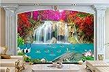 Yosot Landhaus Stil Fototapete Wasserfall Hintergrundbilder Für Wohnzimmer Sofa Tv Hintergrund Mauer Landschaft 3D Wandbild Tapeten-250Cmx175Cm