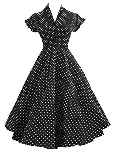 iLover rockabilly cru 40s 50s 60s évasées bal soirée dansante robe plissée BlackDots