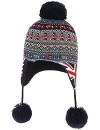 La Vogue-Cappello Caldo Bambino Unisex Soldato Americano Paraorecchie  Beanie con Pompon Nero afc224cb1d2e