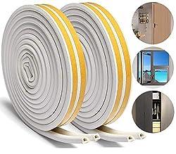 Aibesser 16M Self-Adhesive Foam Door Window Seal Strip for Doors and Windows Soundproofing Collision Avoidance, White Door Window Weather Strip