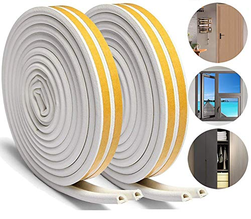 Aibesser 16M Self-Adhesive Foam Door Window Seal Strip for Doors and Windows Soundproofing Collision Avoidance, White Door Window Weather Strip