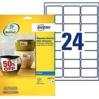 AVERY - Pochette de 240 étiquettes ultra-résistantes autocollantes en polyester, Personnalisables et imprimables, Format…
