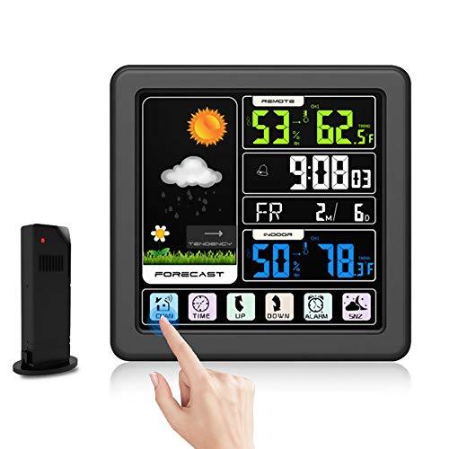 Snewvie Wetterstation Funk mit Außensensor Farbdisplay Touchscreen Digital Thermometer-Hygrometer Uhrzeit Anzeige Alarme Funktion Handy USB Ladeanschluss für Zuhause Büro Schlafzimmer