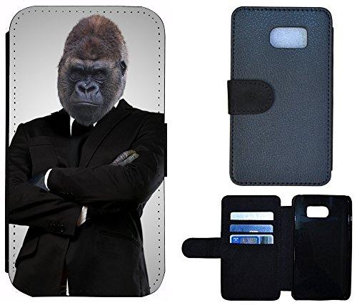 Schutz Hülle Flip Cover Handy Tasche Etui Case für (Apple iPhone 5 / 5s, 1184 Affe Gorilla Schwarz Braun) 1184 Affe Gorilla Schwarz Braun