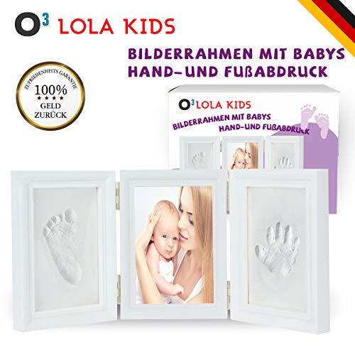 O³ Baby Handabdruck und Fußabdruck // 3 teiliger Bilderrahmen mit Abdruck Set aus schadstofffreiem Modellierton // Hand und Fuß Abdruckset Gips // Ideales Geschenk für Babys zur Geburt