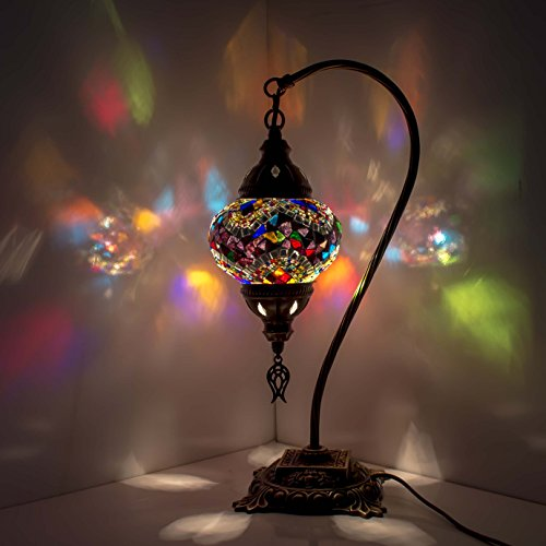 Mosaic Lamp - Turkish Mosaic Table & Desk Lamp,Stunning Moroccan Style, Unique Globe Lampshade, Swan Neck Series (Multicolour 4)