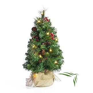 artplants.de Mini árbol de Navidad Artificial BUKAREST con Leds, Decorado, 75 Ramas, 45cm, Ø 25cm – Abeto navideño – Adorno pequeño