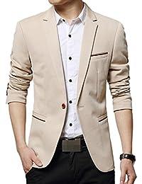LEOCLOTHO Costume Homme Blazer Slim Fit Un Bouton Décontractée Business Mariage Veste