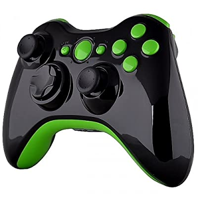 Xbox 360 Wireless Controller - Polished Piano Black with Green Buttons