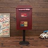 RFJJAL Boîte Lettres sur Pied, boîte Lettres étanche en Fer forgé Vintage - Hauteur 50cm (Couleur : Rouge)