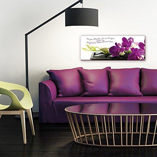 artissimo, Glasbild, 80x30cm, AG1908A, Mit jeder Minute, Orchidee, Bild aus Glas mit Spruch, Moderne Wanddekoration aus Glas, Wandbild Wohnzimmer modern