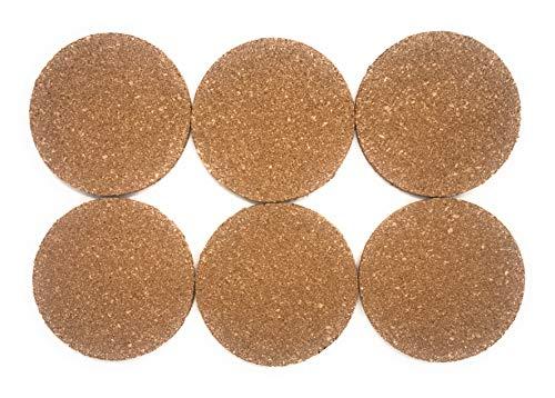 lana naturalis Korkuntersetzer, 6er oder 12er Set, 9,5 cm Durchmesser/Dicke 5mm, Untersetzer aus stabilem natürlichem Kork (6)