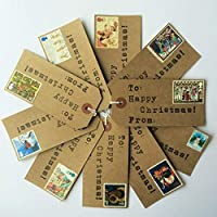 10 x Handmade Christmas Gift Tags with Vintage Christmas Postage Stamps