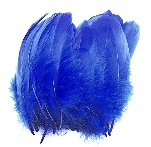 ERGEOB® Echte große Gänsefedern in Dunkelblau / 15-22cm Federnlänge, 100 Stück pro Verpackung, 21 Farbvarianten, Fasching, Karneval, Basteln, Dekoration, Hochzeit.