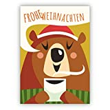 Kartenkaufrausch 1 Coole moderne Weihnachtskarte mit Kakao trinkendem Bären: Frohe Weihnachten