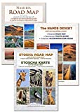 Le jeu de cartes complet NAMIBIE - Carte routière NAMIBIA ROAD MAP + ETOSHA MAP (avec galerie de photos des animaux sauvages) + NAMIB DESERT MAP, idéal pour la planification et le voyage