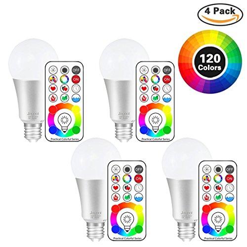 Jayool 10W E27 120 Couleurs LED RGBW Ampoule Changement de Couleur Télécommande (3ème génération), Timing et Dimmable RGB+lumière du jour Blanc(6500K) Edison Screw (Lot de 4)