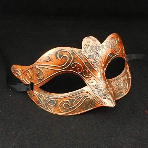 ZjkMr Halloween männer und Frauen Vintage Griechischen Römischen Kämpfer Fox Half Face Maskerade Maske Kostümfest Requisiten B 11 cm X 16 cm
