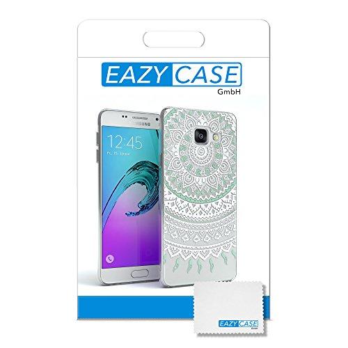 Samsung Galaxy A3 (2016) Hülle - EAZY CASE Handyhülle - Ultra Slim Glitzer Schutzhülle aus Silikon in Anthrazit Henna Weiß / Türkis