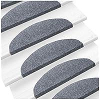 etm Set de 15 marchettes d'escalier Surface Confortable et antidérapante | Taille 23x65cm | Couleurs diverses - Gris