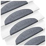 etm Set de 15 marchettes d'escalier Surface Confortable et antidérapante | Taille 23x65cm | Couleurs diverses - Gris...
