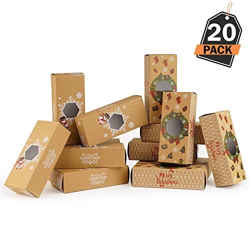 20 Piece Christmas Treat-to-Go Gift Boxes, Holds Christmas Treats and Gifts - for Holiday Gift Giving