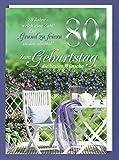 Riesen 80 Geburtstag Karte Grußkarte Blumen Garten Glückwunsch A4