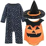 Mombebe Bambino Neonato Pagliaccetto Halloween Costume con Zucca Veste e Cappello (Zucca, 12-18 Mesi)
