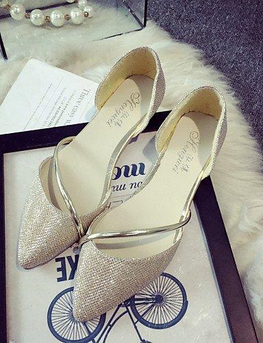 PDX/femmes Bling Chaussures Talon Plat Ballerine/Bout Pointu appartements Bureau & carrière/Party & Soirée/robe Argenté/doré