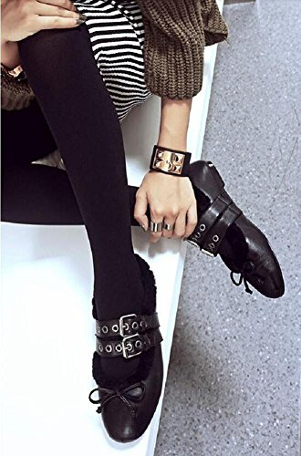 YYH La mode Casual chaussures tête ronde douce fourrure chaude chaussures femme Black