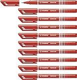 Stylo feutre pointe fine - STABILO SENSOR - Lot de 10 stylos-feutres - pointe 0,3 mm - Rouge