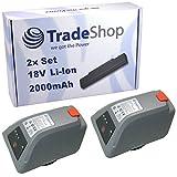 2x Trade-Shop Li-Ion Akku 18V / 2000mAh ersetzt Gardena 008A231 für Gardena 8025-20 Comfort Wand-Schlauchbox 35 roll-up automatic Li Elektische Schlauchtrommel