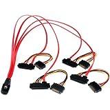 StarTech.com SAS808782P50 - Cable SAS a 4 x SATA datos y corriente alimentación, 50 cm, rojo