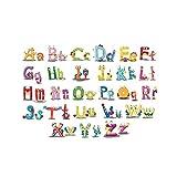 JoyRolly Mignon Animal Alphabet Stickers Muraux Bébé et Enfant Mur Décor Amusant ABC Stickers Muraux pour Pépinière et Chambres d'enfants Art Autocollant Stickers Colorful 1