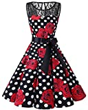 bbonlinedress 1950er Ärmellos Vintage Retro Spitzenkleid Rundhals Abendkleid Black Rose White Dot 2XL