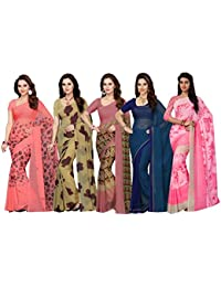 Ishin georgette with blouse piece Saree (Pack of 5)