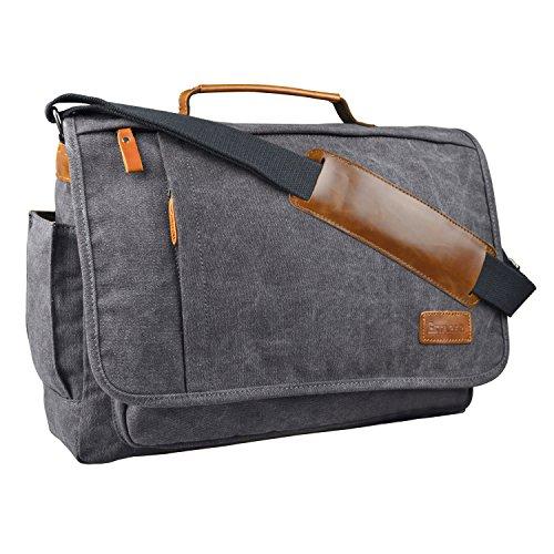 Estarer Umhängetasche / Laptoptasche 15.6 Zoll für Arbeit Uni aus Canvas Grau