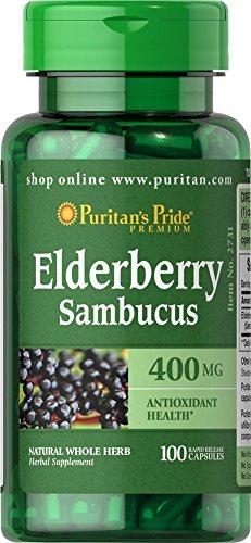 Schwarzer Holunder 400mg - 100 Kapseln Elderberry - Sambucus nigra - Puritan´s Pride 2731