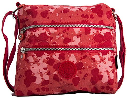 Big Handbag Shop - Borsa a tracolla unisex (Red - Clouds)
