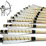 MEJOSER Holzpfeile Echte 4' Naturfedern 32 Zoll Pfeile für Bogen Selfnock mit Wickung Bogenpfeile für bis 55 lbs traditionalen Bogen Bogenschießen (grün) (Weiß)