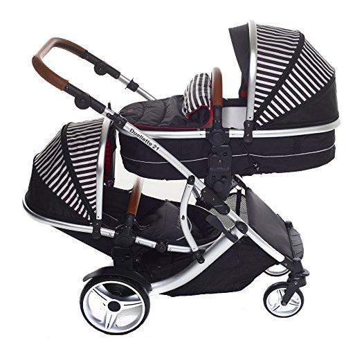 Kinder Kargo Duellette BS Combi Tandem Double Twin Kinderwagen. Geeignet für Neugeborene und Kleinkinder (Soft Babytragetasche Konvertiert auf Eimer Sitze)