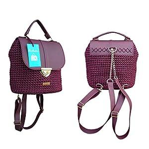 Dunkelrot lederrucksack mit Kette.Damentasche mit rucksackfunktion. EXKLUSIVER Designer gehäkelte Rucksack.Ungewöhnlichen Design.Unikat