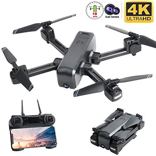 Drohne mit 4K-Kamera für Erwachsene,Follow Me,WiFi-FPV-Live-Video,Lange Flugzeit, Headless-Modus,große Reichweite,Faltbarer RC-Quadcopter für Anfänger und Profis