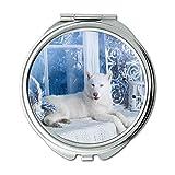 Yanteng Spiegel, runder Spiegel, war lustig gefleckter Hund, Taschenspiegel, 1 X 2X Lupe